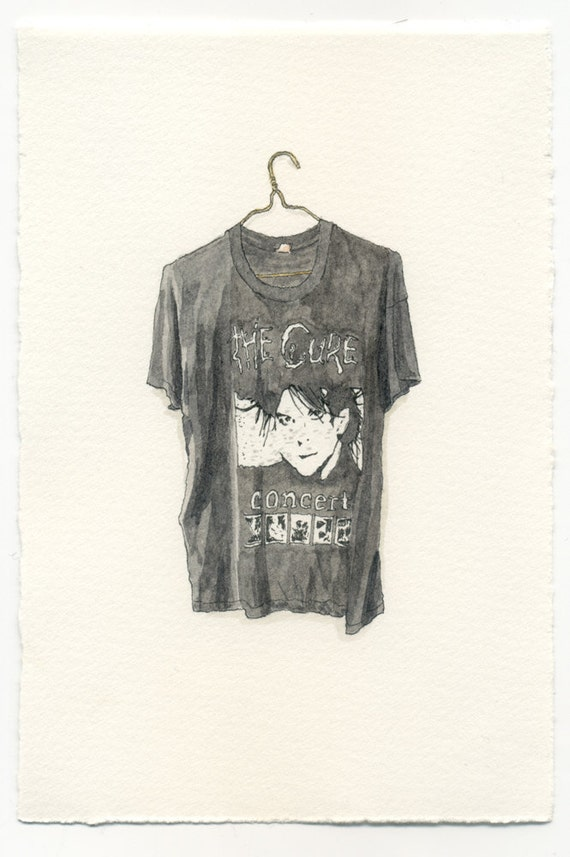 ORIGINAL Watercolor Illustration - Thread Bare The Cure Concert Band T-Shirt
