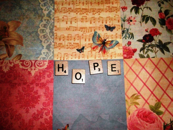 8x10 Photo Scrabble Tile Print Hope Flowers Butterflies Pastels Photo Word Art Inspirational