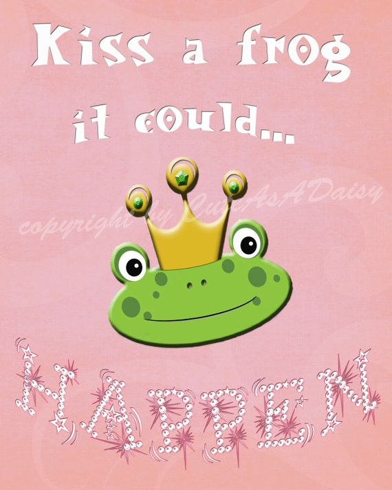 "Kiss a frog... Fun Wall Art Print 5""x7"" Pink and Green Frog Prince"