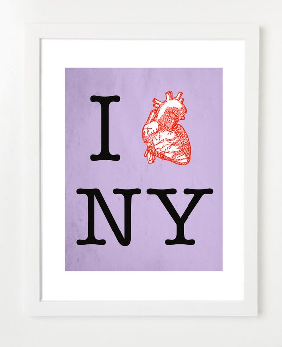 Poster:  I Heart New York Art Print - Choose Your Color