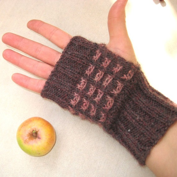Fingerless Gloves Fingerless Mittens Arm Warmers Hand knit Brown/Mistyrose Wool Soft Warm Handmade by Dimana