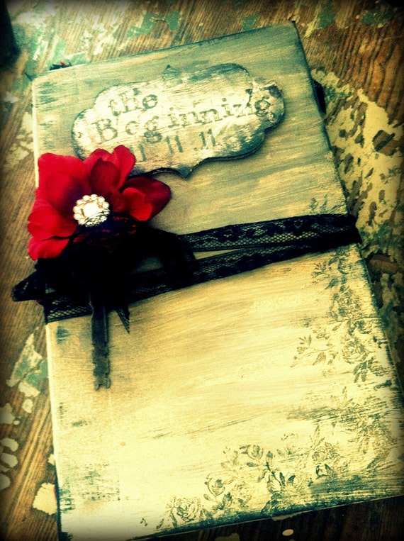 Wedding Guest Book Vintage Elegant Black Red guestbook CUSTOM