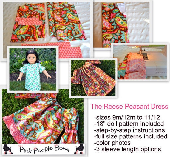 Girls Dress Pattern PDF sewing pattern...The Reese Peasant Dress...baby, girls, easy, 9m-12