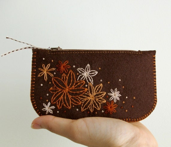 Secret Garden: Made To Order Hand Embroidered Wool Felt Coin Purse or iPhone Cozy by LoftFullOfGoodies