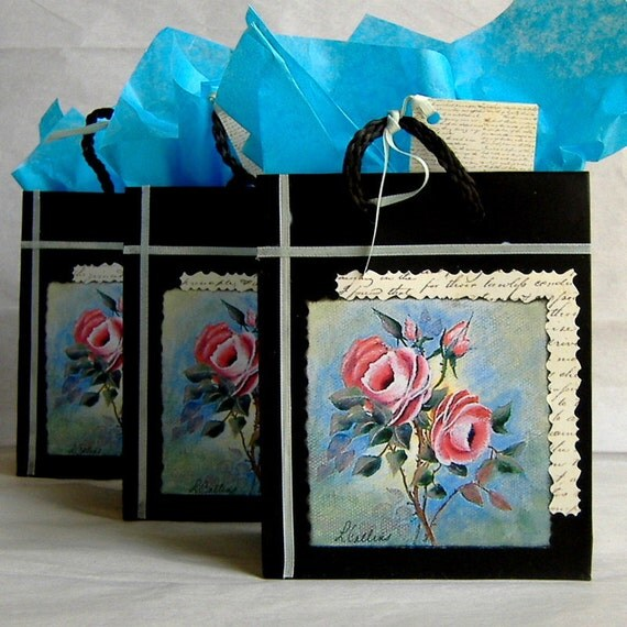 Three Black Gift Bags with Print of Original Painting & Matching Tags, Handmade Embellished