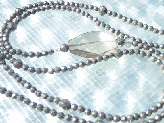 "Smokey Topaz with Pyrite 36"" long necklace"