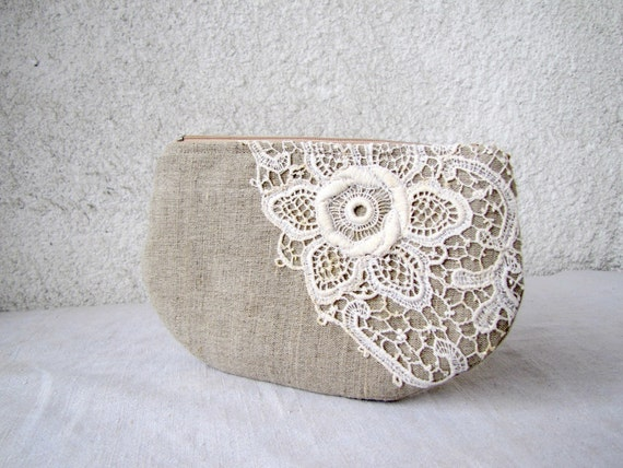 OOAK   zipper pouch, cosmetic bag, small clutch - natural linen and antique lace applique