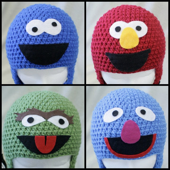 SESAME STREET hat SET - Cookie Monster hat - Elmo hat - Oscr hat - Grover hat - Newborn to Adult sizes sesame street or 18.99 ea