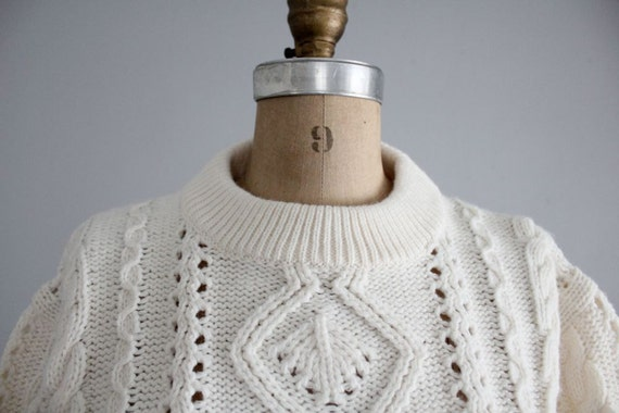 1970s vintage cream acrylic fisherman sweater