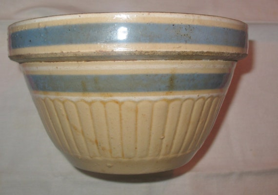 Antique Blue Band Yelloware Mixing Bowl Unmarked