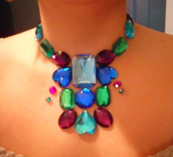 Blue, Purple, Green  Floating Illusion Statement Necklace Bib Royalty Choker