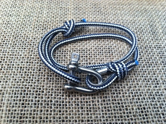 Limited edition smaller scale nautical sailing wrap bracelet. Stainless steel and sailing line.