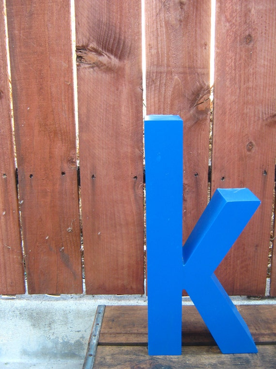 Upcycled Letter k Blue Industrial Aluminum Sign Channel Letter - Lowercase k