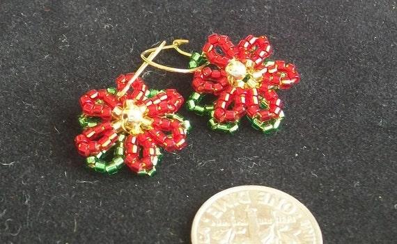 Beaded Christmas Poinsettia Earrings