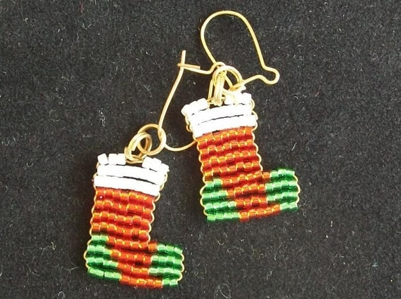 Beaded Christmas Stockings Earrings