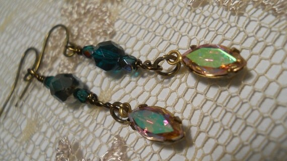 Émeraudes et Opales emerald opal earrings vintage crystals marquise rhinestone jewels Christmas holiday glamour