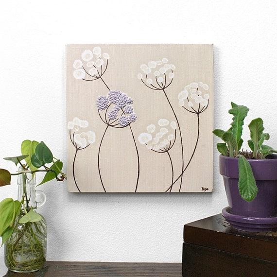 Малый картина Цветок - оригинальную художественную Холст с Texture - хаки и фиолетовый детский Wall Art - 10X10 Площадь Холст