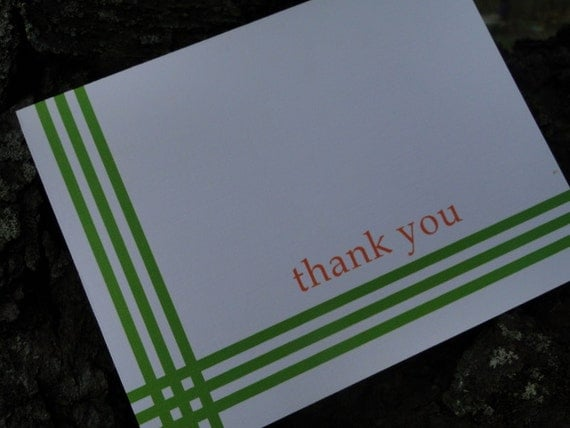 Striped Green  Custom Note Cards (set of 10)