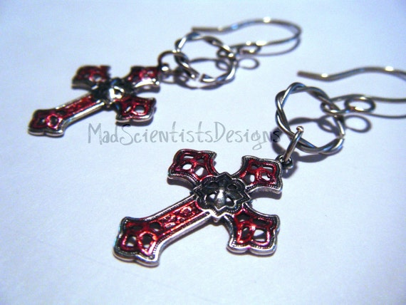 FREE SHIPPING Gothic Cross Earrings 002 Goth Vampire Victorian Silver Red by MadScientistsDesigns
