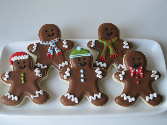 Here comes the GINGERBREAD Men sugar cookies - 1 dozen