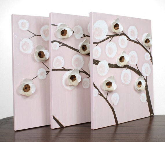Большой Живопись Орхидея Филиалы - Оригинальная картина холст, акрил Триптих - 50x20 коричневый и розовый Декор Детская