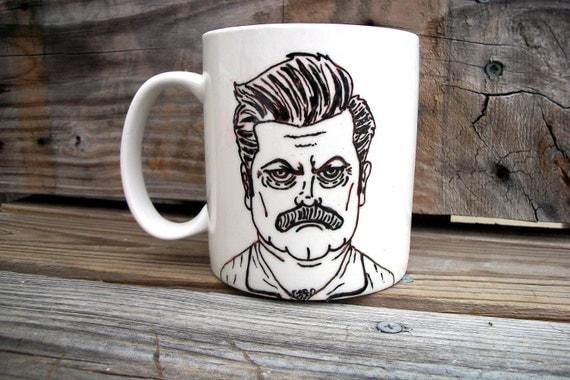 Ron Swanson Manly Man Tribute Coffee Mug / Manly Parks and Recs Hand Painted Coffee MMMug
