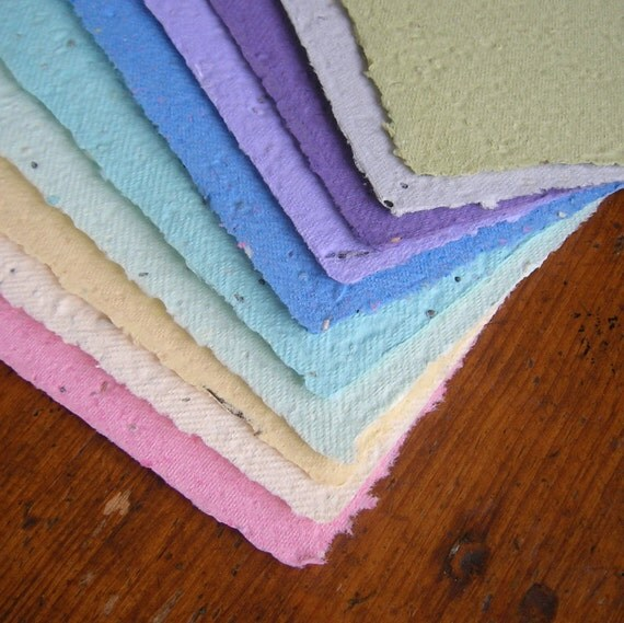 Rainbow assortment of sheets - made of plantable handmade paper embedded with perennial and annual wildflower seeds