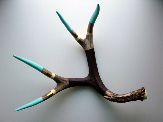 Aqua, Gold, Cream and Purple Striped Painted Mule Deer Antler - Extra Large