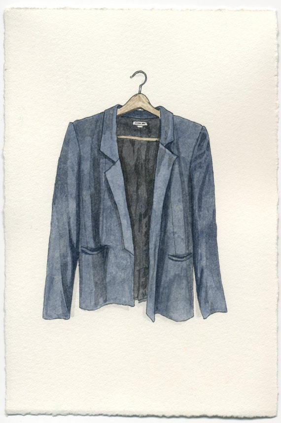 ORIGINAL Watercolor Illustration - Navy Blue Helmut Lang Blazer