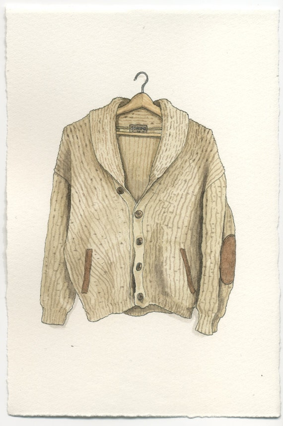 ORIGINAL Watercolor Illustration - Tundra Heavy Wool Sweater Cardigan w Elbow Pads
