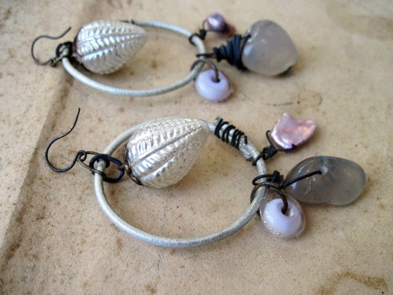 Phantasms. Gypsy Assemblage Dangles in Pink and White.