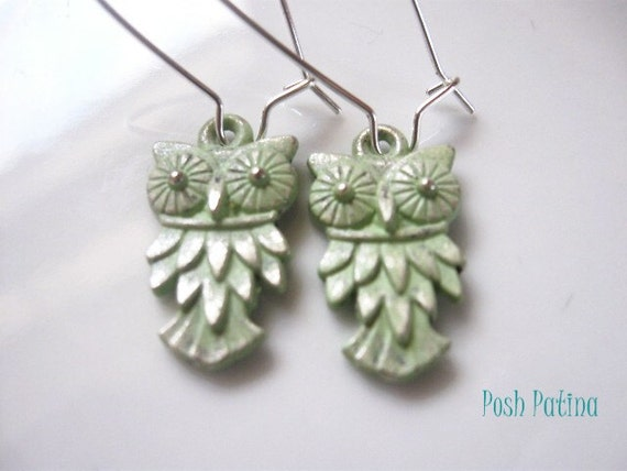 Who Gives a Hoot - Rustic Mint Green Hand Painted Owl Earrings