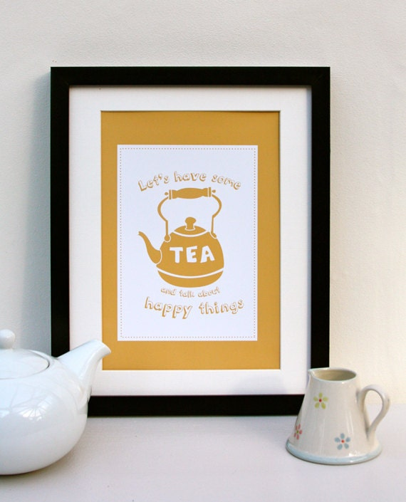 A4 Tea Quote Print - Yellow
