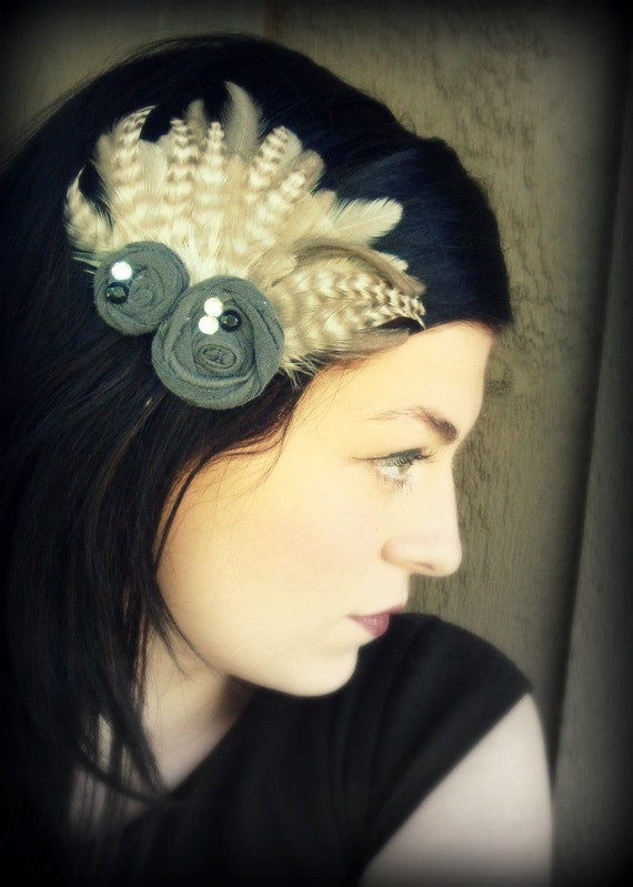 Feather and Flower Hair Accessory-Grey Matters Fascinator