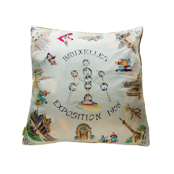 1958 Bruxelles Expo Silk Scarf Cushion Cover Upcycled Remade Vintage Pillow Pale Blue Atomium
