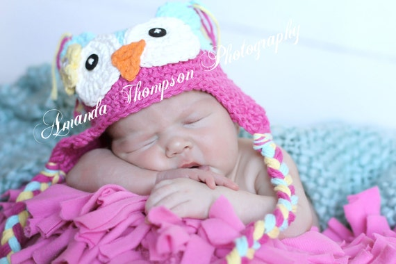 Owl Hat Baby Beanie Girl Blue Pink Baby Girl Photo Prop Gift