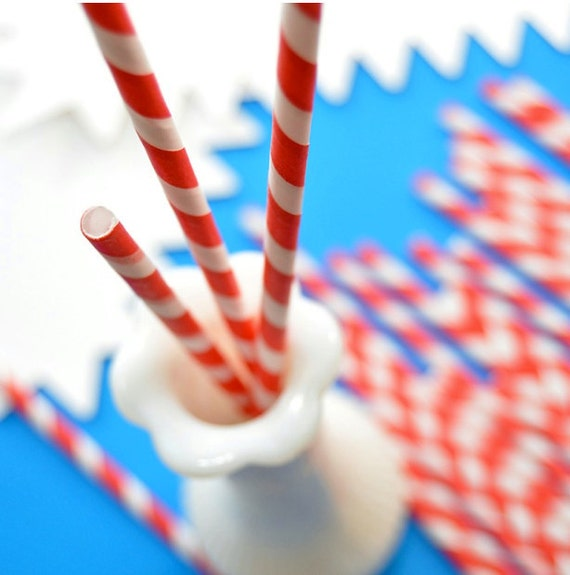 25 Red Striped Straws and DIY Flag Toppers.