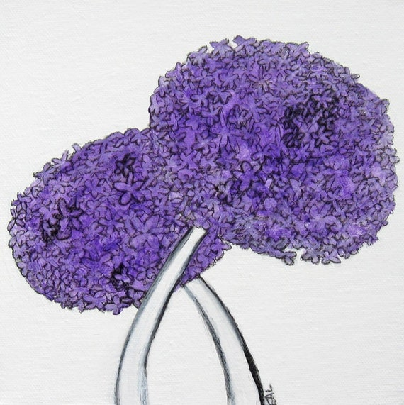 flowers, purple, painting, simple, canvas - Purple Flowers II