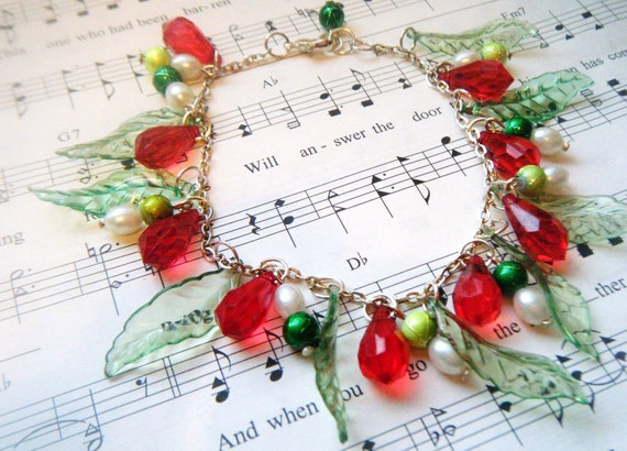 Red and Green Christmas Bracelet....Red Teardrops, Green leaves, Pearls...........Free US shipping