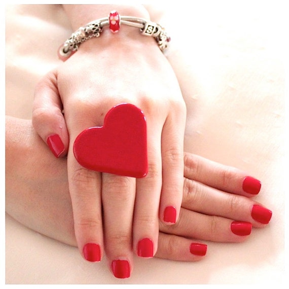 Valentine Red Heart Ring Ceramic - big bold handmade cocktail ring - I HEART U - 1.75 inch