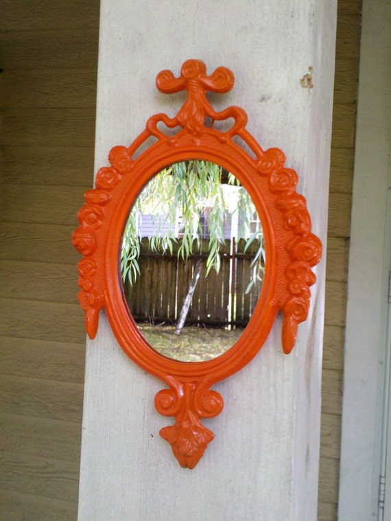 Small Mirror in Vintage Flaming Orange Frame - Revived Vintage