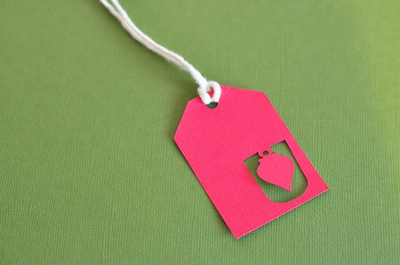 Red Ornament Cutout Gift Tag
