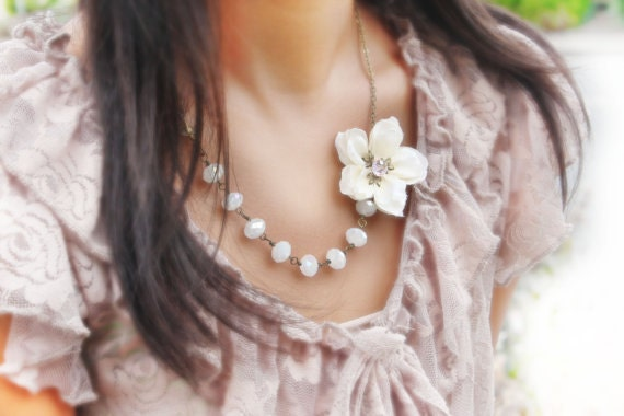 ivory cherry blossom flower necklace, asymmetrical necklace, cherry blossom necklace - free simple drop earrings