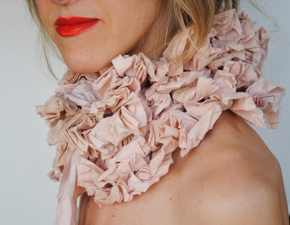 Ruffle collar/ Hand dyed cotton muslin/ Shabby chic/Tan/ Hand made/ Ruffled Fashion/ for her under 50