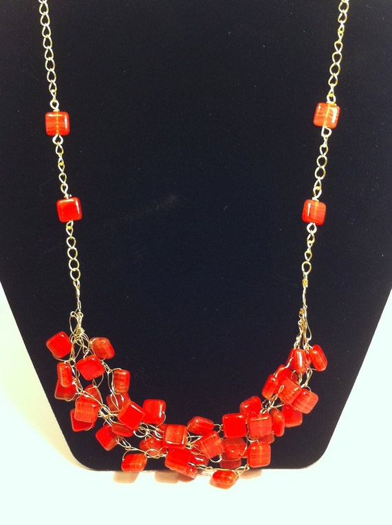 Red and Gold Cluster Necklace