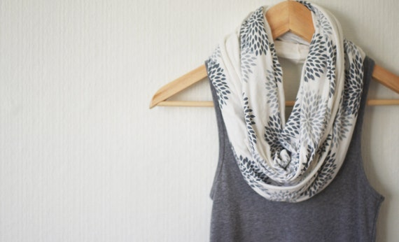 SCARF - Screen Printed - Infinity Scarf - Gray Flowers on Cream