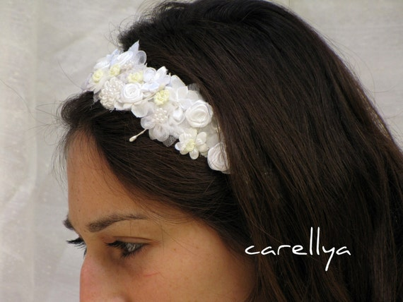 Wedding Crown - Woodland  Bridal  Wreath - Floral Head piece -  White and Ivory