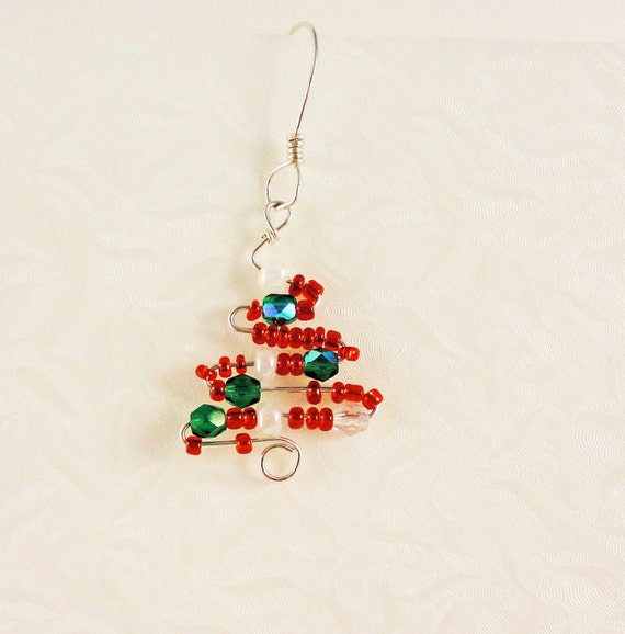 Christmas Tree Earrings Red Green Crystal Sterling Silver