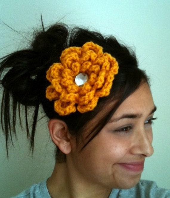 Mustard yellow crocheted flower elastic headband
