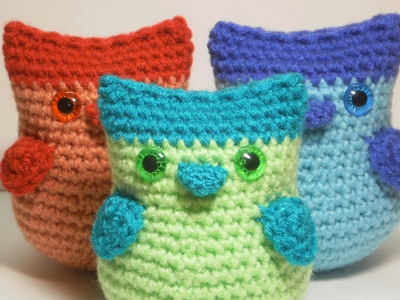 Baby owls - set of three amigurumi owls